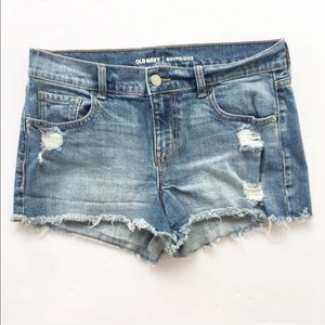 Old Navy | Medium Wash Cutoff Boyfriend Shorts